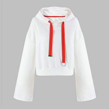 Wholesale drawstring long sleeve crop plain white hoodie