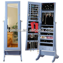 hand painted jewelry armoire with full length mirror outside