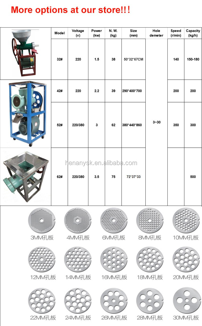 32 42 52 Commercial Electrical Big Chicken Fish Meat and Bone Pork Beef Meat Grinder with Without Motor