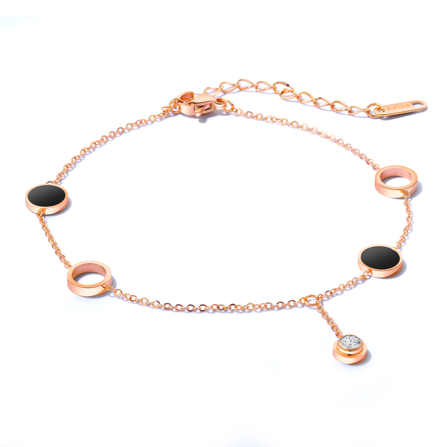 Female black geometric circle anklet stainless foot chain anklet