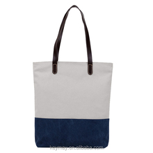 Leahter handle block custom canvas tote bags