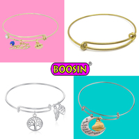 2015 Wholesale brass wire bangle custom expandable/adjustable wire bangle bracelet with charms