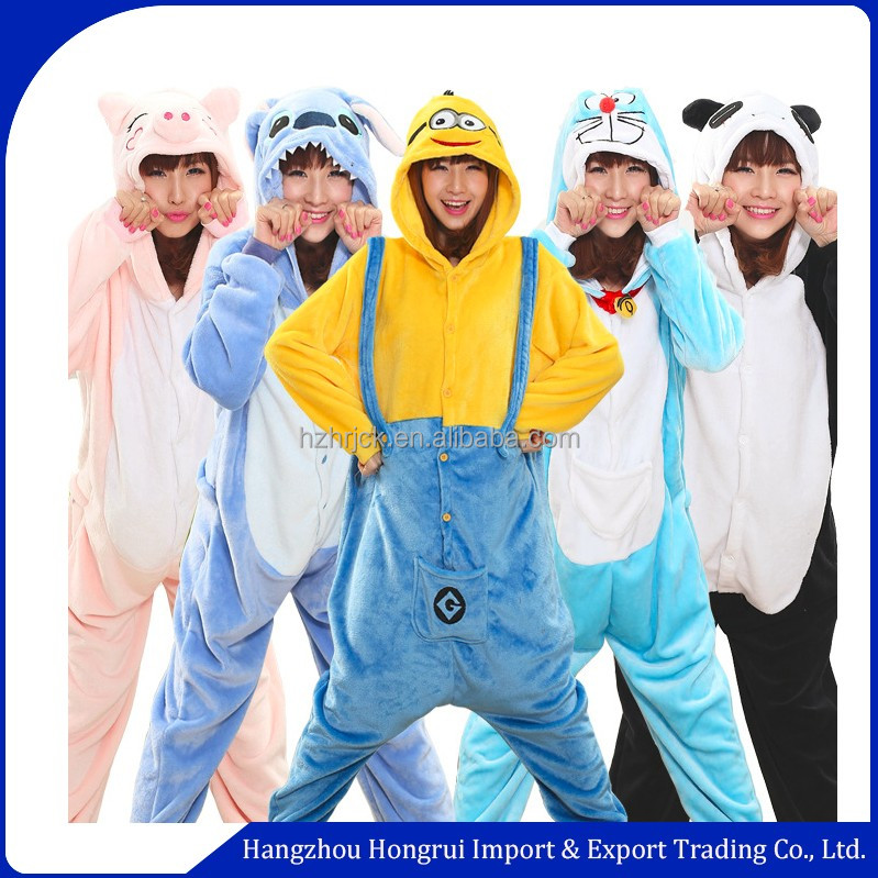 Wholesale Cartoon despicable me character onesie pajama adult hooded flannel minion pajamas