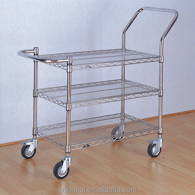 New desgin Chrome plated wire shelf utility cart/wire shelf trolley