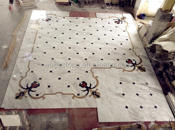 Volakas white marble flooring design tile and water jet rug medallions ...