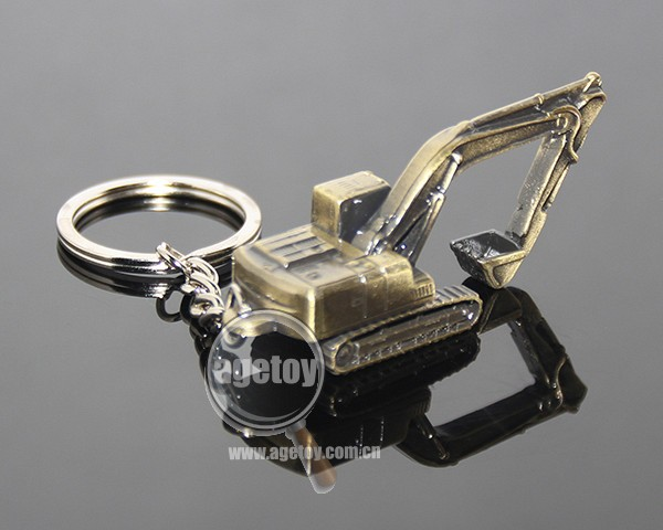 3D Mini Excavator Shaped Key Ring Holder Three-dimensional Bronze Metal Excavator Key Chain