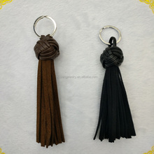 Latest popular handmade leather tassel key chain,Key Chain With Leather Tassel,Hot Sale Bag Charm (KC-020)