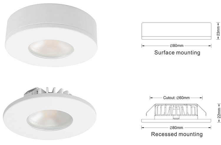 5 year warranty 12V 3W CE RoHS ETL approved led light downlight