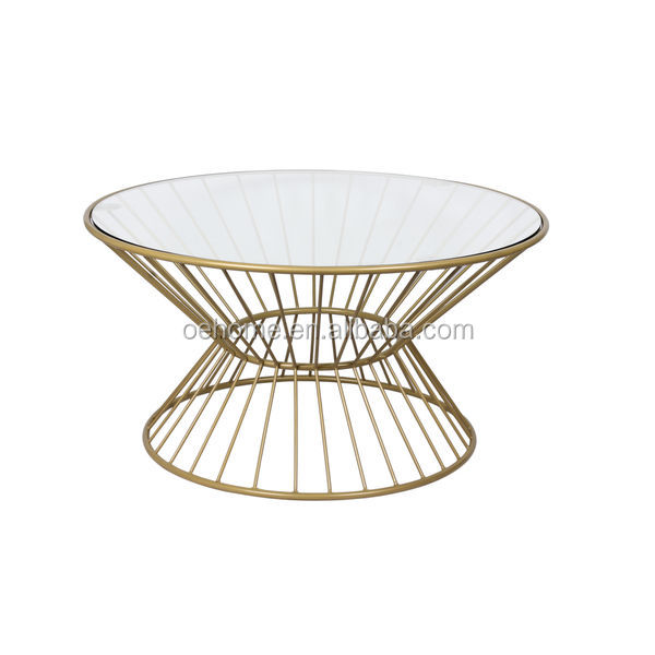 Gold Wire Framed Glass Top Coffee Table