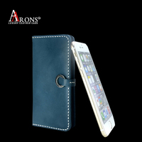 Flip folio top grain standing leather case for iphone 6 cardholder case for iphone 6
