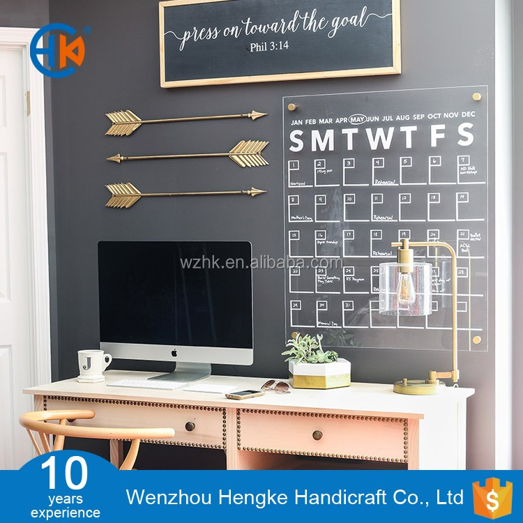 Silk printing acrylic DIY wall calendar 2017 for home office