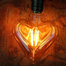 Pentagram special shape decorative HEART led filament bulb for home coffee bar lighting