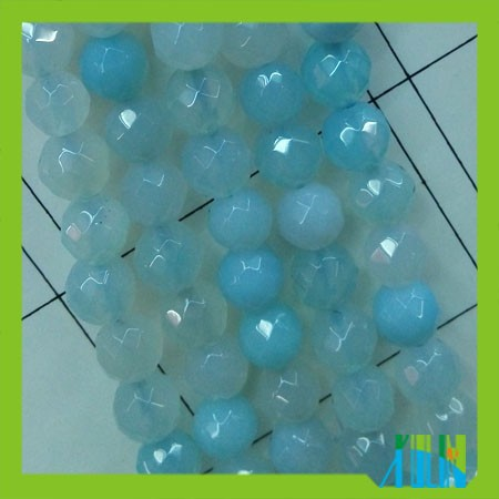 round faceted blue jade beads gemstone for jewelry