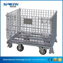 Wire mesh garbage steel shipping cage /mesh box wire lift cage metal bin storage container
