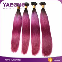 Best grade 8A soft and smooth ombre human hair weave pink brazilian straight hair