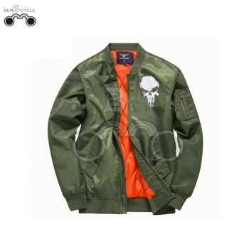 ArmyGreen skull motorcycle men winter warm soft jacket