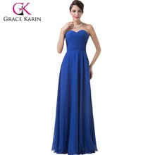 Grace Karin Latest Design Elegant Long Chiffon Royal Blue Bridesmaid Dresses Patterns CL6232