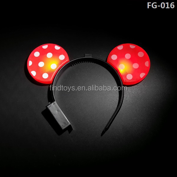 Light Up Red Mouse Ears Headbands with White Polka Dots