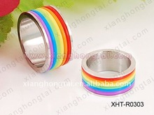 chic women rainbow colorful ss stainless steel ring jewelry Christmas gift