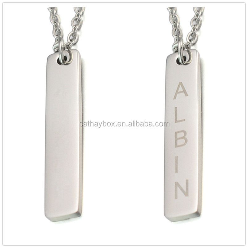 High Polished Silver Tone Stainless Steel Blank Vertical Name Bar Charm <strong>Pendant</strong>