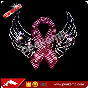 Pink ribbon rhinestud breast cancer awareness iron on transfers