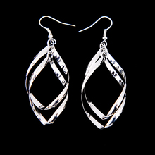 Fashion Elegant Dangle Shiny Silver Plated Leaves Shaped Stunning Bicyclic Twisty Earrings Drop Earrings for Women Jewelry