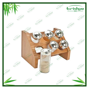 Hot sell bamboo spice rack set
