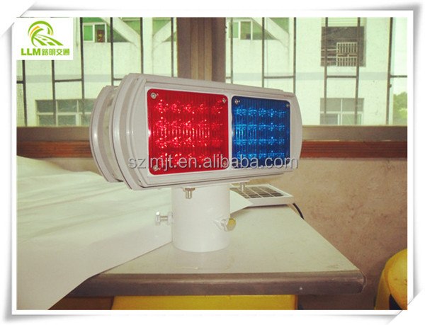 Direct manufacture double sides double sets red and blue solar LED strobe light