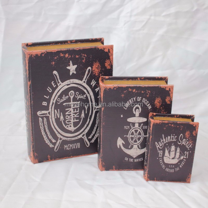 Low MOQ Vintage Decorative Wooden Fake Book Box Wholesale