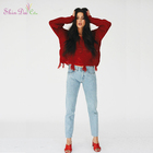 Good design red handmade knit girls distressed wool acrylic pullover pullover sweater