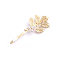 Vintage Leaves Shape Hair Clips, Metal Hair Clips with Pearls, Cute Hair Clips for Girls X10-H09