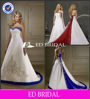 ZC929 A-line Strapless Red Royal Blue And White Wedding Dresses