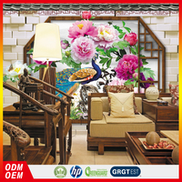 Peacock and Peony flower Photo 3d Wallpaper for home interior decors