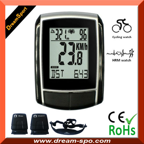 wireless bicycle computer/cycling computer with altimeter and heart rate monitor