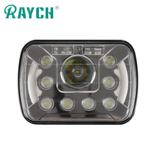 5*7 inch led work light for truck 9 to 32v DC 45w led work light headlight hi/lo beam halo ring DRL offroad light
