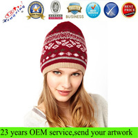 Plain free beanie knitting patterns jacquard custom knitted slouch beanie hat for girl