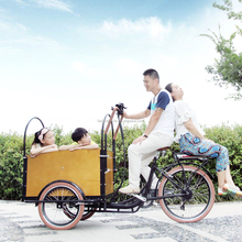 CE worthy bakfiets pedal assisted three wheel family cargo tricycle cab for kids