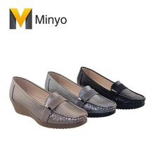 Minyo modern women soft leather lady wedge moccasin shoes