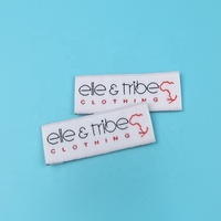 No Minimum Custom End Fold Tags Private Name Logo Machine Weaving Damask Woven Labels for Socks