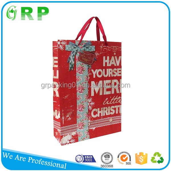 Recyclable custom logo ribbon handled gift shopping paper packaging bag