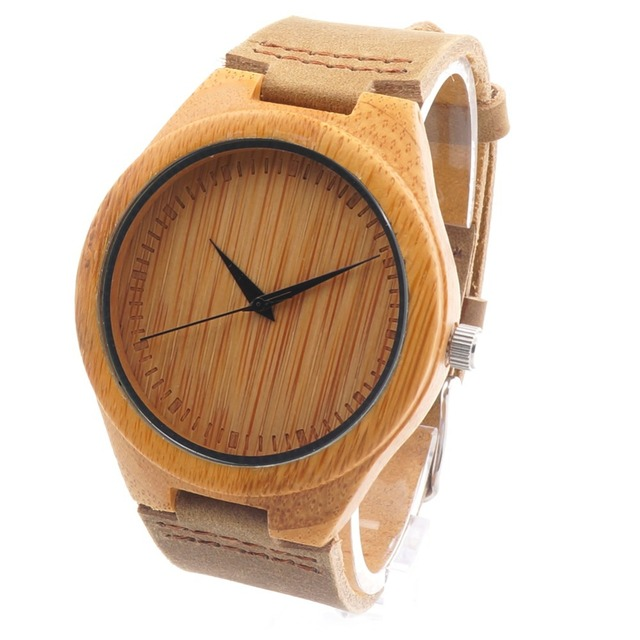 BOBO BIRD Professional Fashion Unisex Leather Bamboo Wood Quartz Casual Watches Real Leather Strap With Gift Box