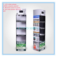 Cardboard displays with video screen, counter top LCD cardboard display, corrugated PDQ with lcd display