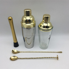 5PCS 750ml Stainless Steel Gold Plated Cocktail Shaker Set+450ml Glass Shaker/Mixer+Mixing Spoon+Mint Mojito Muddler+OEM Logo