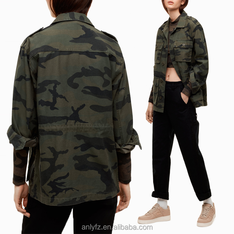 Fashionable european style long sleeves custom wholesale denim camo jacket women