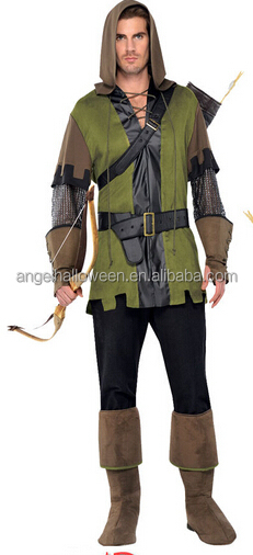 Sexy mens costume sex robin hood costume cosplay green arrow costume for male AGM3267