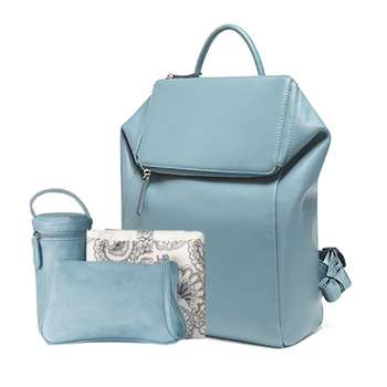 new design fashionable premium pu leather diaper bag backpack with insulated pouch,changing pad,stroller straps for mom and Dad