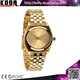 Pure Gold Multifunction Stainless Steel Luxury Mens Reloj Mujer Watch In Golden