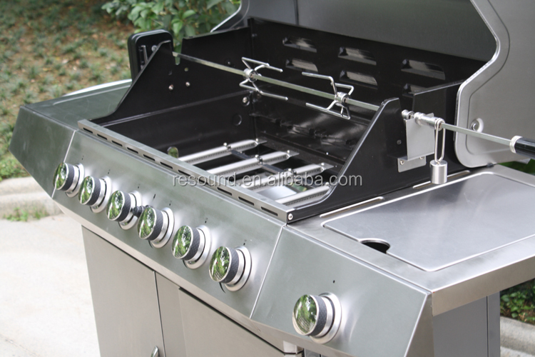 6 burner stainless grill, balcony bbq grill, outdoor garden bbq gas grill