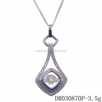 Dancing diamond zircon pendant drop shape pendant silver 925 pendant