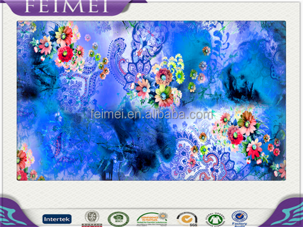 100% polyester flora digital printed fabric top quality